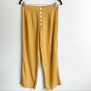 Gillia Button Front High Rise Linen Crop Pants Tan